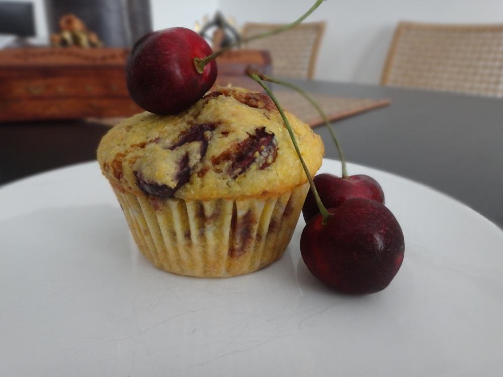 kirsch schoko polenta muffins