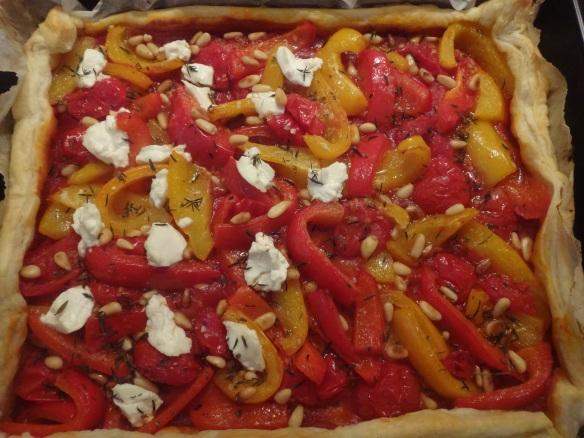 gebackene paprika tomaten tarte