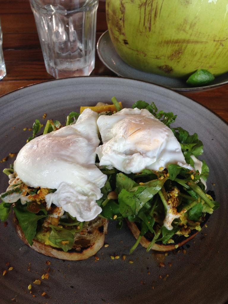 poached eggs on avocado