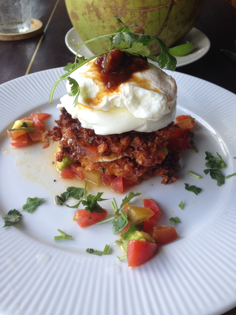 poached eggs on corn fritters