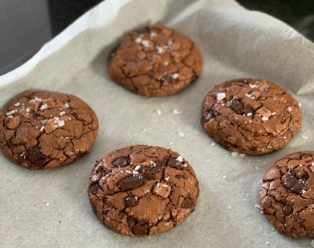 schoko olivenöl roggen cookies